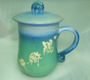 HD2009     手拉坏鶯歌陶瓷杯   亮藍綠色