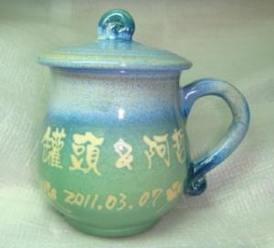 HE2009    手拉坏鶯歌陶瓷杯   藍綠色