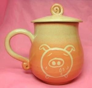 HE2010   手拉坏鶯歌陶瓷杯    橘色