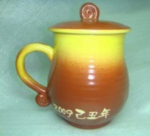 HE2022   手拉坏鶯歌陶瓷杯 手拉胚   黃咖 色