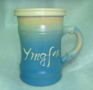 HG2005  手拉胚鶯歌陶瓷杯 手拉竹子杯 藍色竹杯
