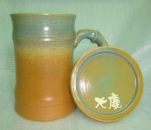 HG2008    手拉胚鶯歌陶瓷杯 手拉竹子杯  綠棕色竹杯