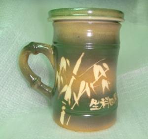 HG2302   手拉胚鶯歌陶瓷杯 手拉竹子杯   綠色 竹杯