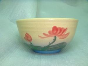 飯碗,陶瓷飯碗,手拉陶碗-HLK002 手拉陶碗+彩繪荷花圖