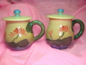 HET401 手拉杯鶯歌陶瓷彩繪杯子對杯組