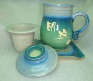 HA407 手拉泡茶杯 鶯歌手拉杯杯盤組+陶瓷濾網