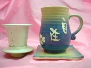 HA408 手拉泡茶杯 鶯歌手拉杯杯盤組+陶瓷濾網