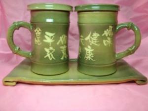 HGT605 綠色--竹節杯--對杯組+長盤