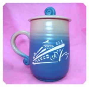 HBK204  藍色 一面雕刻船.一面手寫名字