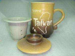 HDK305 < 3件手拉杯天目黑色 > +雕刻台灣圖