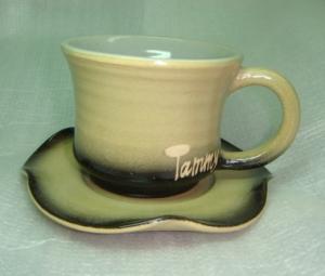 HDC201 手拉坏 手拉咖啡杯盤 梨色