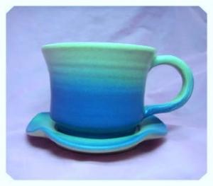 HDC203 < 藍色 > 手拉坏咖啡杯盤