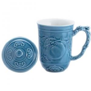 K1502 雕刻杯 柿柿如意杯 (藍) (350cc)