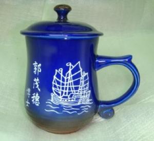 BK204 亮寶藍咖啡色- 電腦雕刻船圖