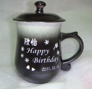 BK209 黑白色--美人 雕刻陶瓷杯