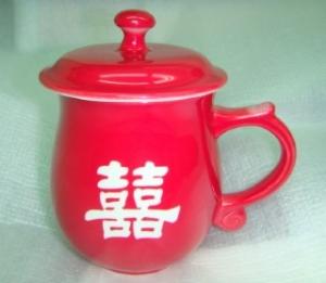 CK221 全亮紅色 圓滿 雕刻杯