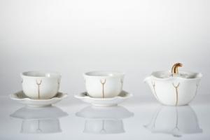 夏荷雙人品茗組(白金一壺+二杯+二盤)