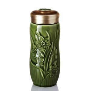 15-D2292 水仙隨身杯 大 / 雙層 / 綠(250ml)
