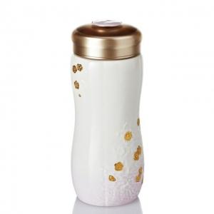 15-D3202 梅花隨身杯 (雙層、鎏金+紫) 250 ml