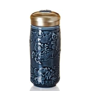 15-D2294 麒麟隨身杯( 大 / 雙層 / 礦藍 )  250ml