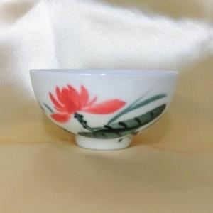 喝茶杯 PW107 手工彩繪--荷花圖 (背面可提字)