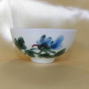 老人茶杯 PW108 手工彩繪--花圖 (背面可提字)