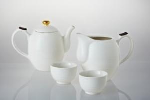 時來運轉茶具組(鎏金+白釉)(一壺+茶海+六杯)