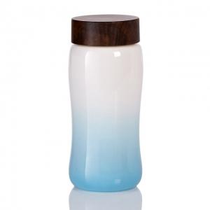 15-D2393-2 喜悅圓融隨身杯白藍大單層木紋蓋550ml