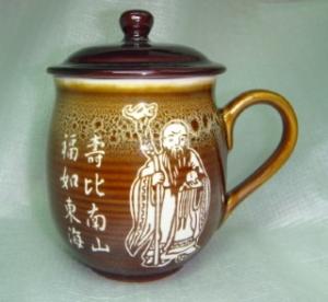 生日禮物-快樂杯 V1001 生日禮物杯子 雕刻福祿壽圖 1 雕刻杯