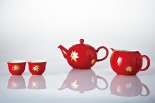 16-D6800 金楓喜葉茶具組 (鎏金/珊瑚紅/一壺+六杯+茶海)