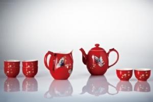 16-D7800 鎏金彩蝶茶具組(鎏金+珊瑚紅+彩繪 / 一壺+六杯+茶海)