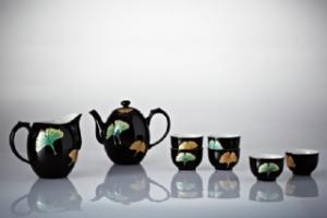 16-D7801 銀杏茶具組(鎏金+黑彩)(一壺+茶海+六杯)