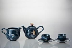 16-D8780 福蝶茶具組(藍彩/一壺+六杯+六杯托+茶海+茶葉罐)