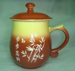 升遷紀念杯  V4016  圓滿雕刻杯雕刻竹子圖 退休紀念杯