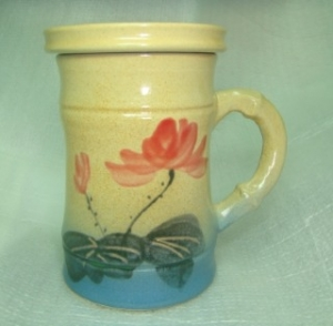 母親節禮物  V5013 手拉竹杯+畫荷花圖 母親節禮物
