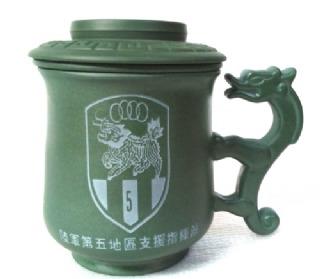 陶瓷雕刻杯 G2004 雕刻陸軍指揮部 LOGO圖 3件龍杯 泡茶杯