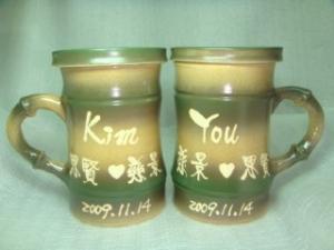 結婚禮物-JH6305 結婚紀念杯 手拉竹杯 對杯組