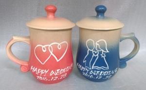 結婚禮物-J6303 結婚紀念杯  鶯歌陶瓷對杯組 + 畫娃娃圖