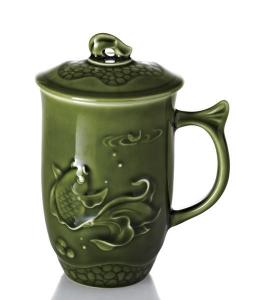 13-D1352 乾唐軒 魚喜高杯-綠釉 450ml