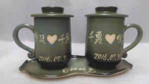 結婚禮物-JH6010 手拉坯對杯組+豆子盤
