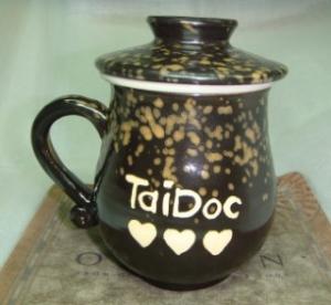 鶯歌陶瓷手拉杯 喝茶杯 U6007  感謝-泰博科技 . 背面畫 LOGO