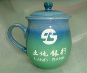 陶瓷雕刻杯 G20003 雕刻 土地銀行LOGO